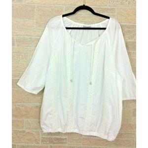 Catherines White Lace Trim Boho Top Plus Size 1X
